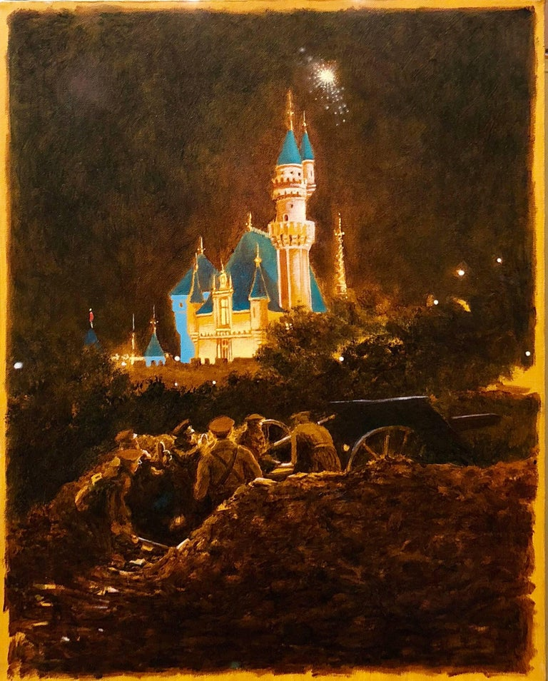 October, Night Scene with Castle and Soldiers Oil Painting - Brown Figurative Painting by John Bowman