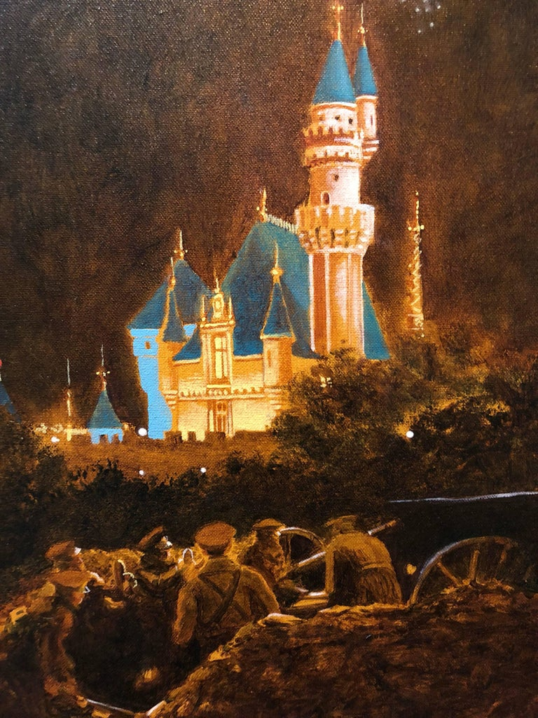 John Bowman Figurative Painting - October, Night Scene with Castle and Soldiers Oil Painting