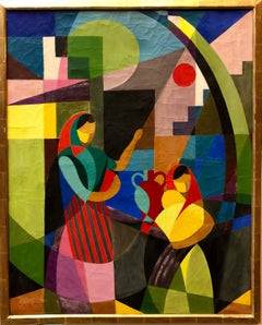Colorful Catalan French Post Cubist Oil Painting