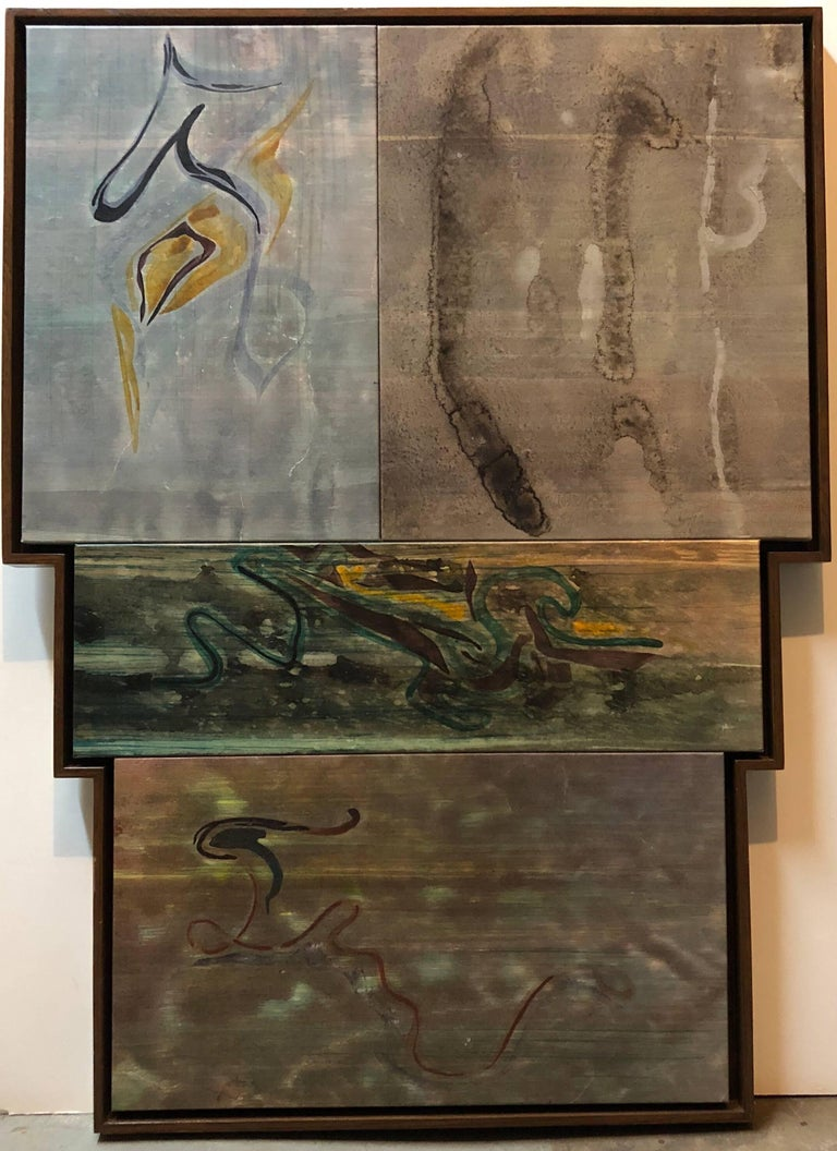 Ray Kass Abstract Painting - Yellow Sulphur Springs Mixed Media Abstract Large Painting