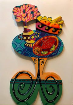 Pop Art Carved Wall Sculpture Painting Bright Vibrant Colors
