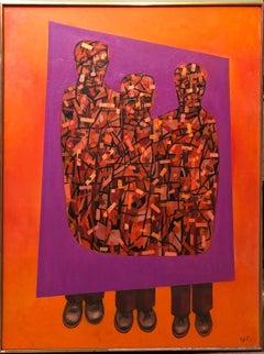 Modernist Mod California Vibrant Pop Art Cubist Painting