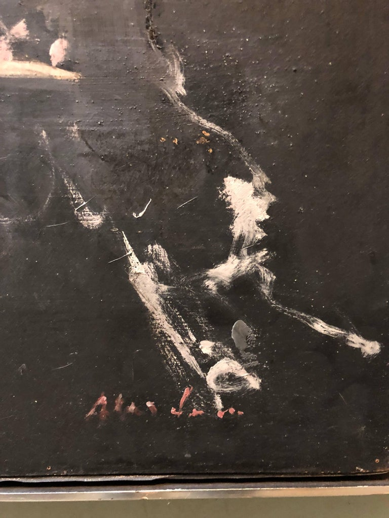 Polish Ecole De Paris Modernist Oil Painting Abstract Dancers - Black Abstract Painting by Alfred Aberdam