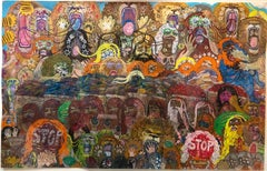 The Mean Hippies (Drawing with Rattlesnake Warrior and Red Rebels) Outsider Art