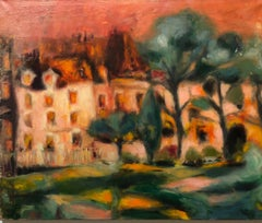 French Modernist Vivid Fauvist Landscape Oil Painting