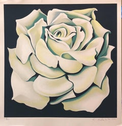 Signed Ltd Ed Modernist Silkscreen WHITE ROSE Floral Screenprint