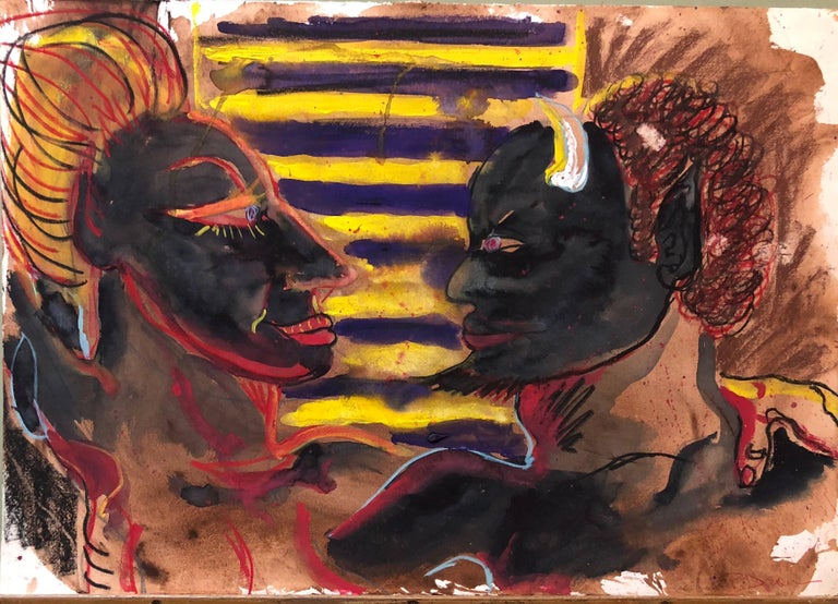 Peter Dean Figurative Painting - One More Time (Black Devil) Outsider Art Painting, Drawing