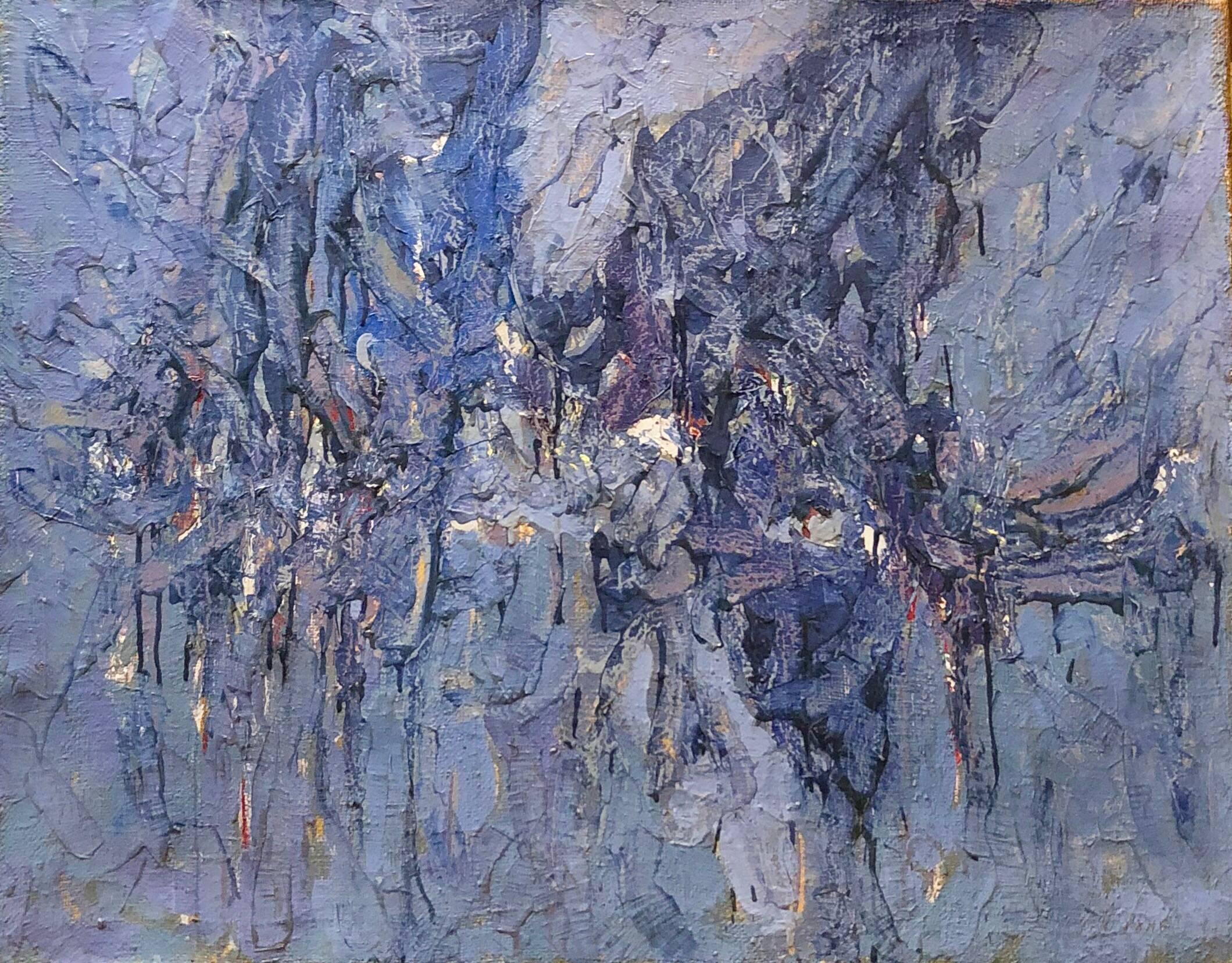 Abstract Expressionist Landscape Israeli Modernist Oil Painting, Moody Blue