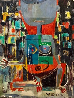 Rare Israeli Modernist Oil Painting Exhibited 1951 Tel Aviv Museum