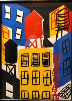 New York Night, Vintage Large Modernist Pop Art Sllkscreen