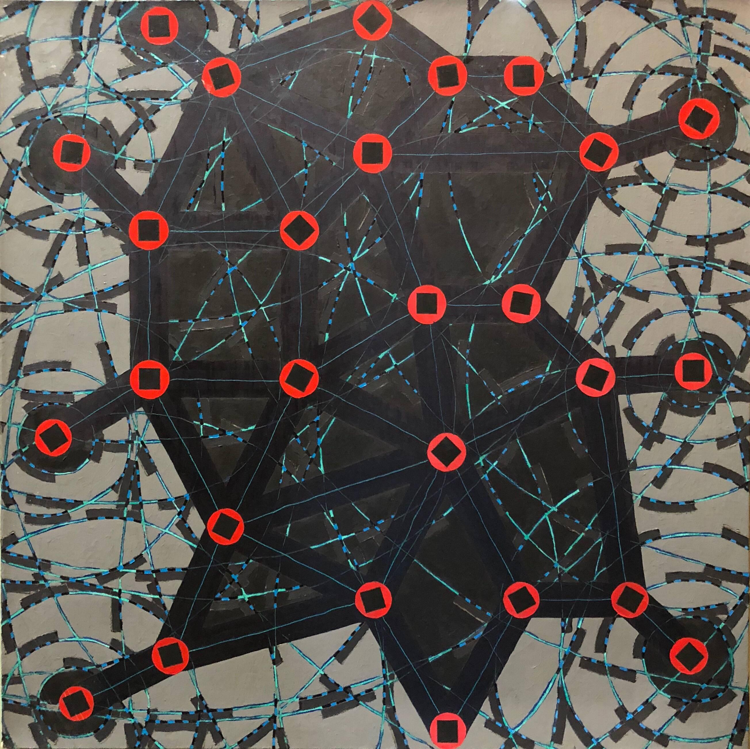 Stop Flats, Night Stops, Abstract Geometric Oil Painting