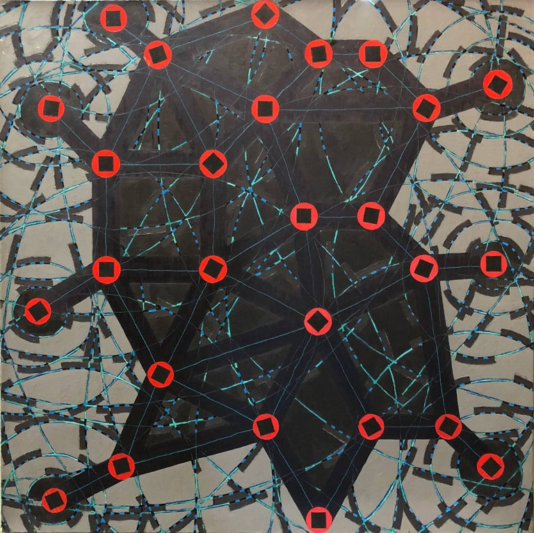 W.C. Richardson Abstract Painting - Stop Flats, Night Stops, Abstract Geometric Oil Painting
