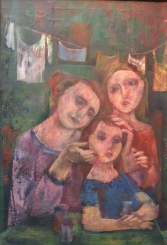 New York City Tenement Family Modernist WPA Era Oil Painting Wolins