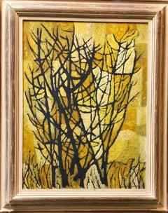 Stylized Landscape Mid Century Modern Cubist Tree Oil Painting