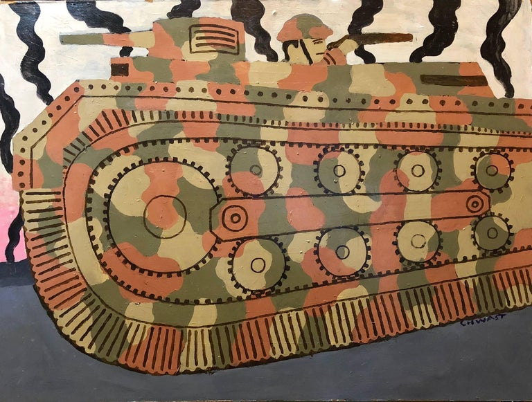 Seymour Chwast Figurative Sculpture - Large Oil Painting Of  Cartoony Camouflage Tank in Illustration Style