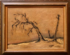 Silenzio No19, Lonely Tree. Italian Expressionist, Surrealist Oil Painting