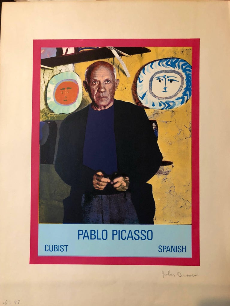 John Brower Figurative Print - Vintage 1960s Pablo Picasso Photo Silkscreen Serigraph Pop Art