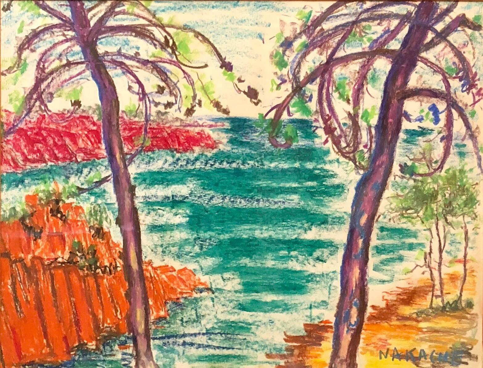Algerian French Vibrant Colorful Expressionist Beach Scene Oil Pastel Drawing