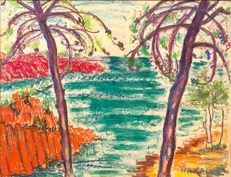 Armand-Henri Nakache Landscape Art - Algerian French Vibrant Colorful Expressionist Beach Scene Oil Pastel Drawing