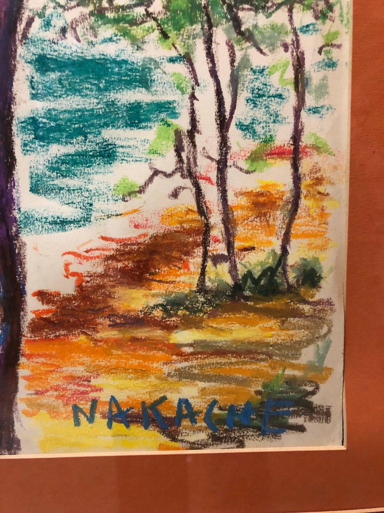 Algerian French Vibrant Colorful Expressionist Beach Scene Oil Pastel Drawing  - Art by Armand-Henri Nakache
