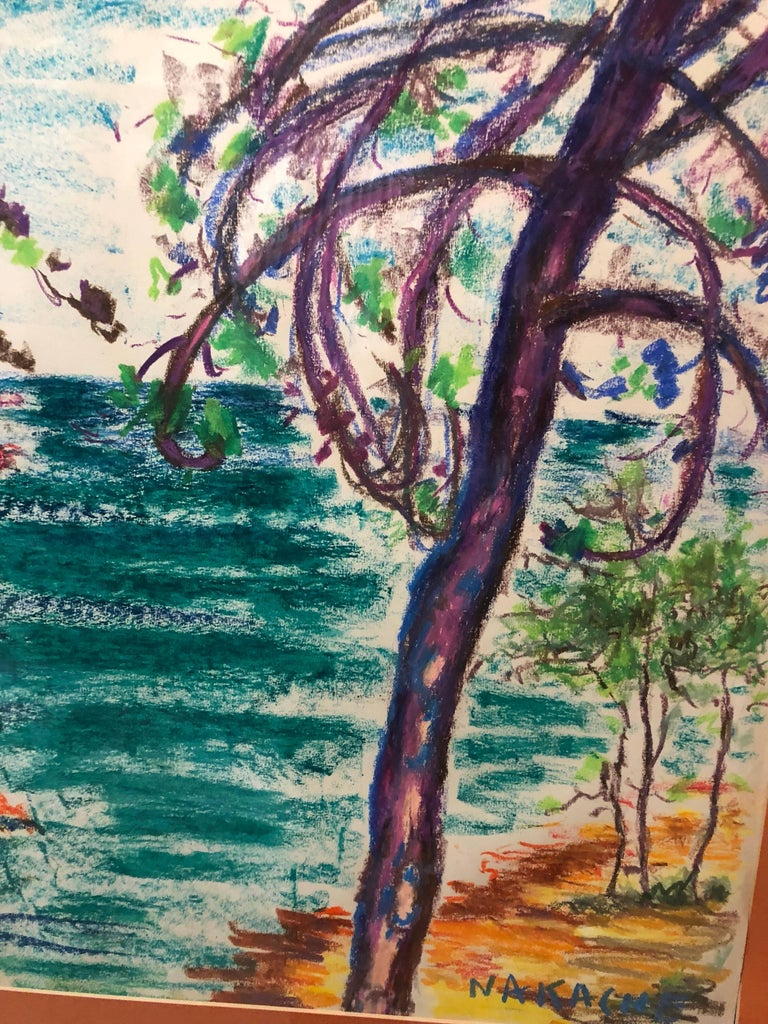 Algerian French Vibrant Colorful Expressionist Beach Scene Oil Pastel Drawing  - Beige Landscape Art by Armand-Henri Nakache