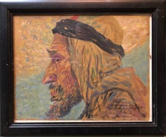 Rare Oil Painting Arab Man Bezalel School Jerusalem 1913, Judaica