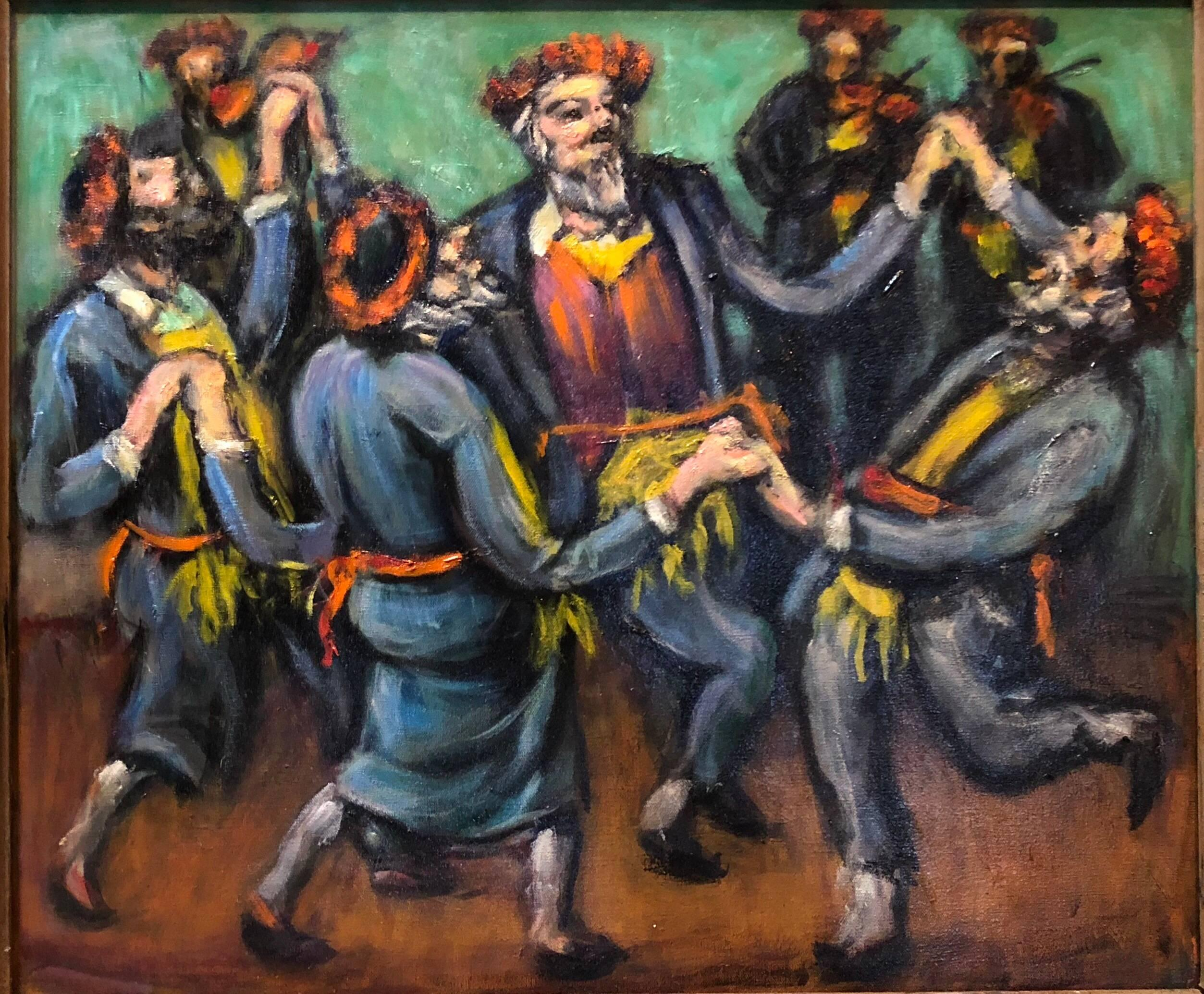 Hassidim Dancing, Rare Judaica Oil Painting Manner of Tully Fllmus