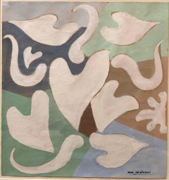 Abstract Heart and Leaf Forms, Modern Italian French Art