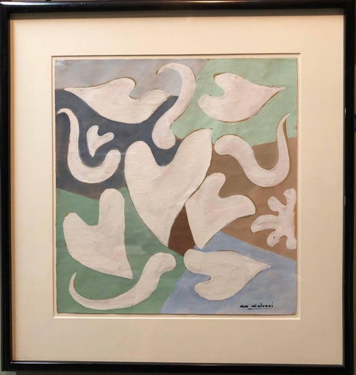 Gio colucci abstract heart and leaf forms modern italian french art painting for sale at 1stdibs