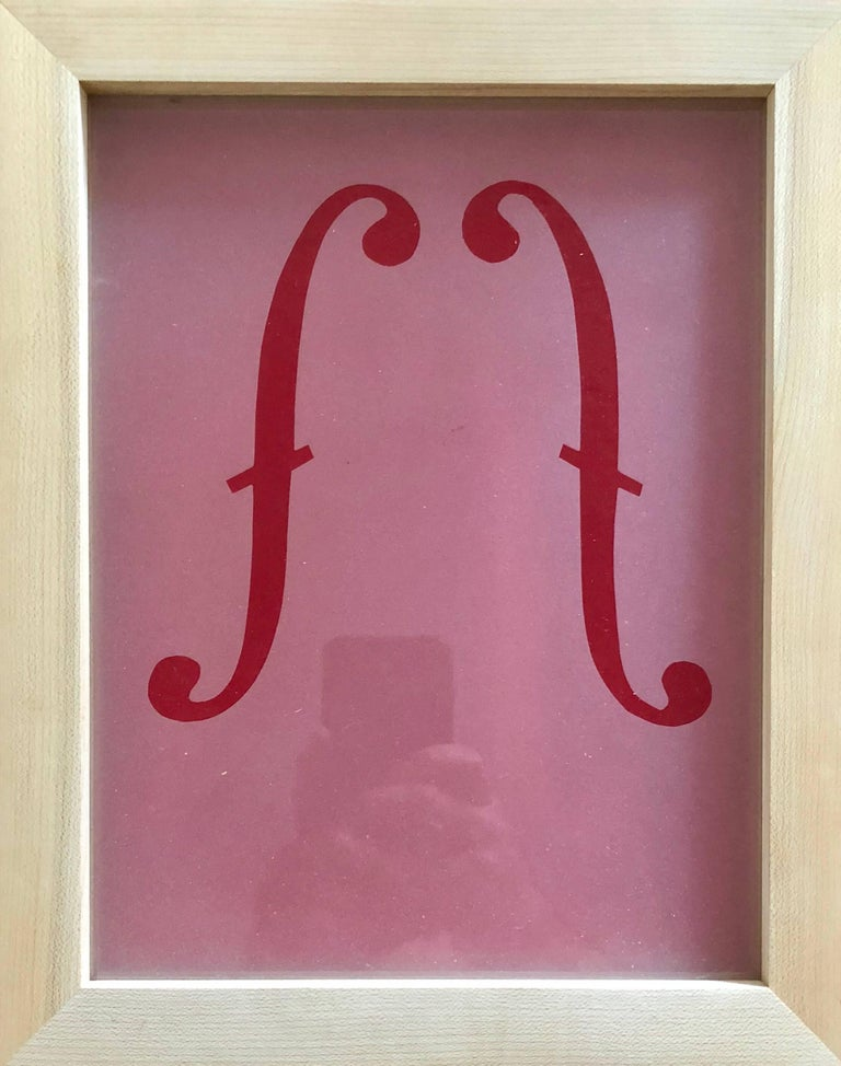 Acid etched Music Note Clef Glass Wall Sculpture Artwork Framed ed. 25 Signed  - Brown Abstract Sculpture by Suzan Etkin