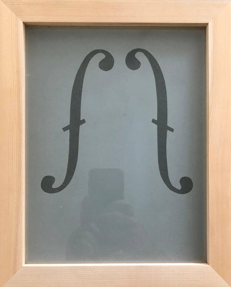 Suzan Etkin Abstract Sculpture - Acid etched Music Note Clef Glass Wall Sculpture Artwork Framed ed. 25 Signed
