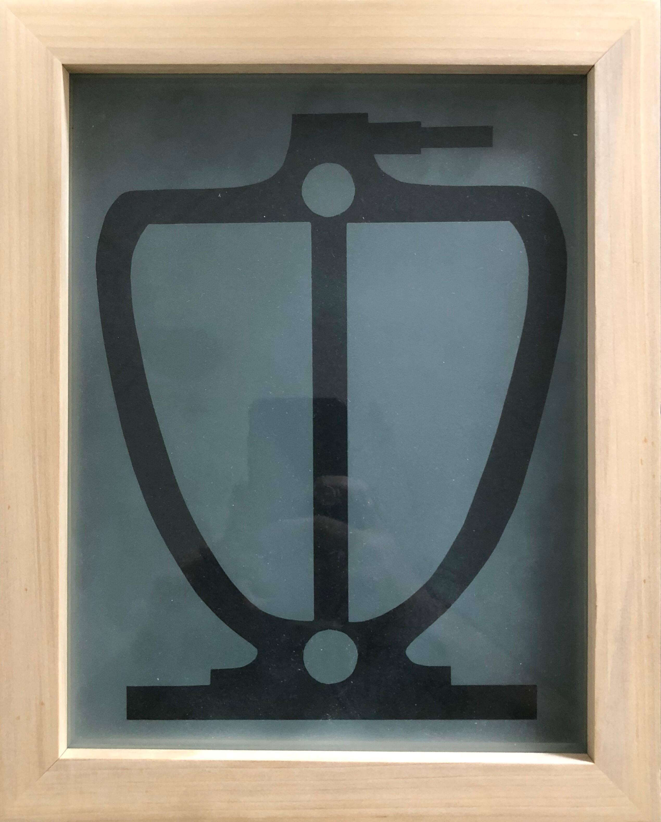 Acid etched Abstract Urn Glass Wall Sculpture Artwork Framed ed. 25 Signed