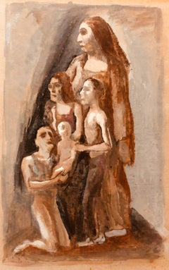 Rare American Modernist Family Group Gouache Painting