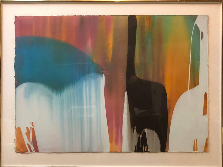 size is without frame.  Bright, vivid, large Abstract Expressionist color field painting. Similar in manner t the colorful abstract works of Paul Jenkins Lamar Briggs (1935-2015) Well known Texas artist was born in Lafayette, Louisiana and attended