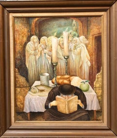 Rare Israeli Modernist Judaica Oil Painting Rabbi with Angels Shabbat Scene