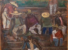 DUSK, IKUAPAN, Mexico. Laborers at Rest. Modernist Oil Painting