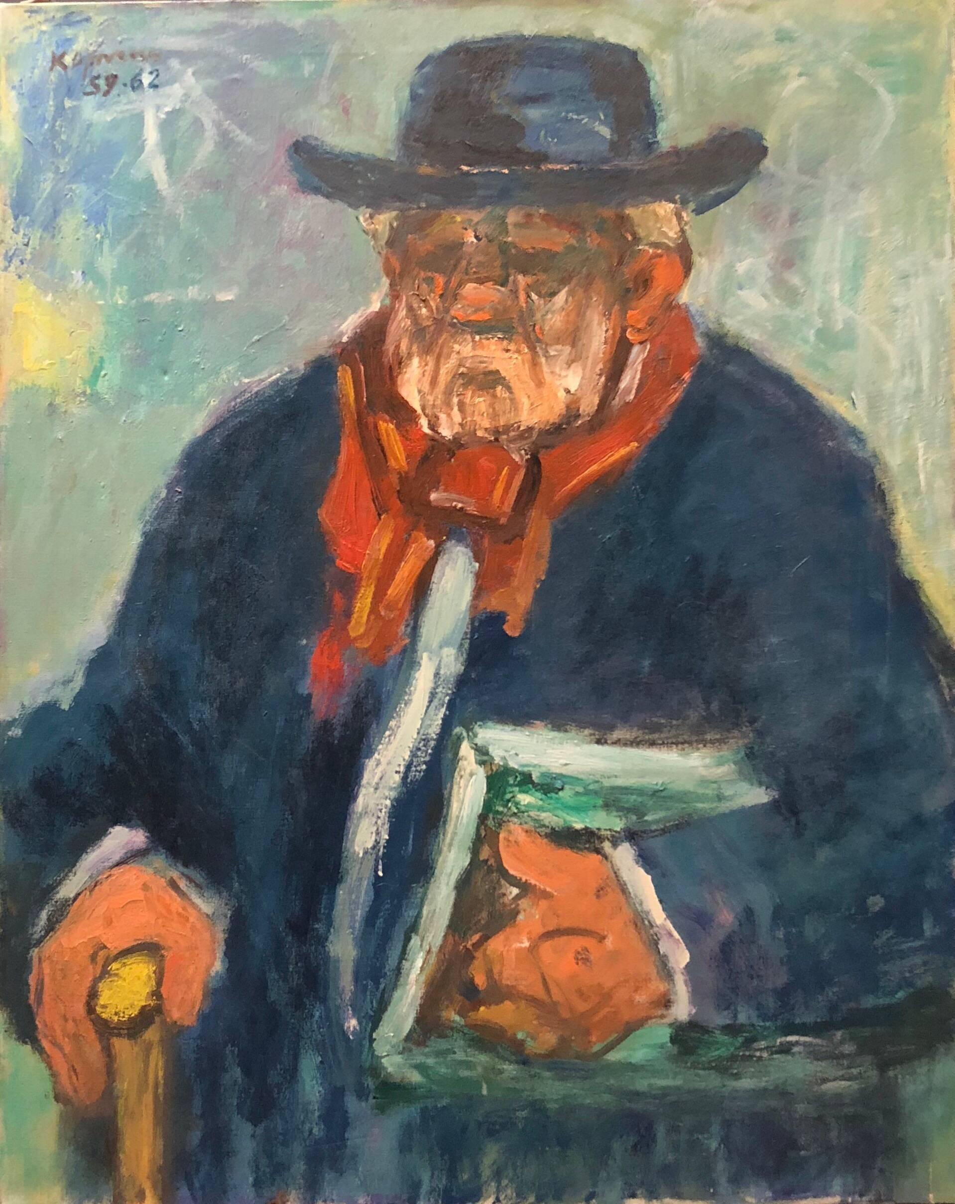 Portrait of a Gentleman, Large Modernist Oil Painting