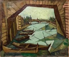 Polish French Mid Century Modern Abstract Venice Gondola Canal Scene