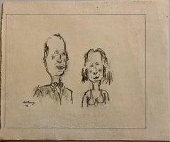 William Anthony 1976 Caricature Drawing John Richardson & Jan Cushing