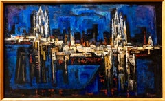 Vienna Image, Large Abstract Cityscape Oil Painting Chicago Jewish Modernist