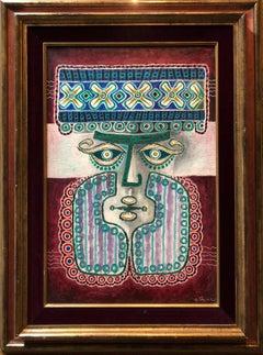 Bearded man, Jewish King or Rabbi Polish Israeli Folk Art Modernist Oil Painting