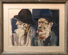 Large Watercolor Painting Israeli Modernist Judaica Two Rabbis