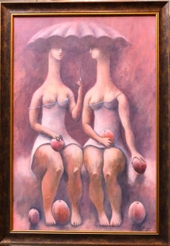 Large Latin American Modernist Oil Paintng Women with Fruit