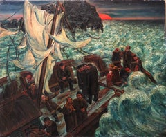 The Storm, Modern Oil Painting WPA Jewish artist (War Allegory, Refugees)