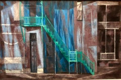 Social Realist GREEN STAIRS Architectural Street Scene Landscape Oil Painting