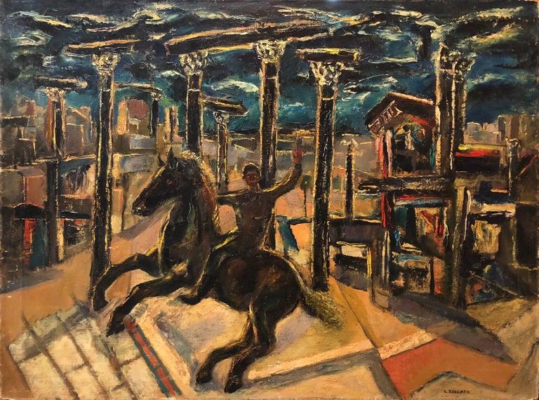 Samuel Brecher Portrait Painting - Yesterday's, Surrealist Horse Rider, Architectural Ruins Modernist Oil Painting