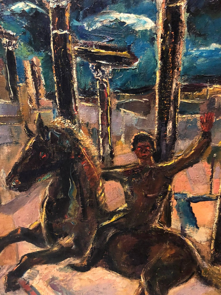 Yesterday's, Surrealist Horse Rider, Architectural Ruins Modernist Oil Painting - Black Portrait Painting by Samuel Brecher