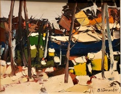 Canadian Modernist Oil Painting Abstract landscape Sugar Shack
