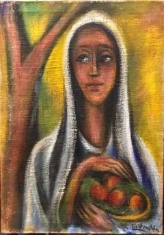 Rare Oil Painting Woman with Fruit Bezalel School Jerusalem Israeli Judaica