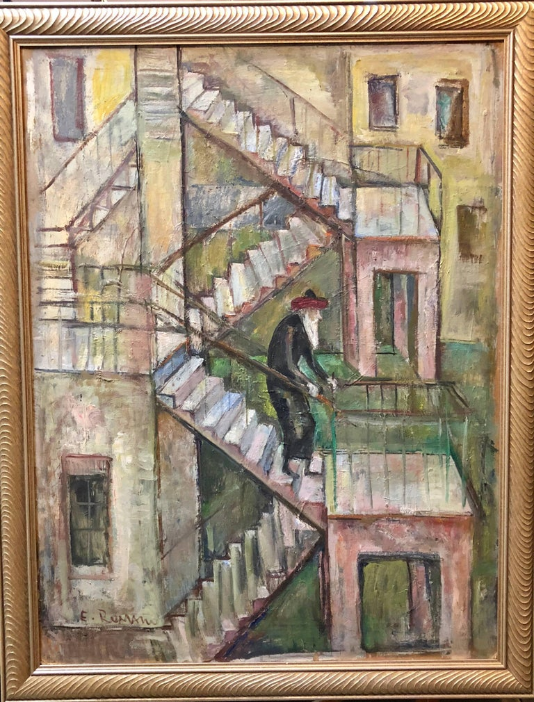 Large Modernist Oil Painting 1940s, Judaica Hasidic rabbi in Jerusalem - Gray Figurative Painting by Emanuel Romano